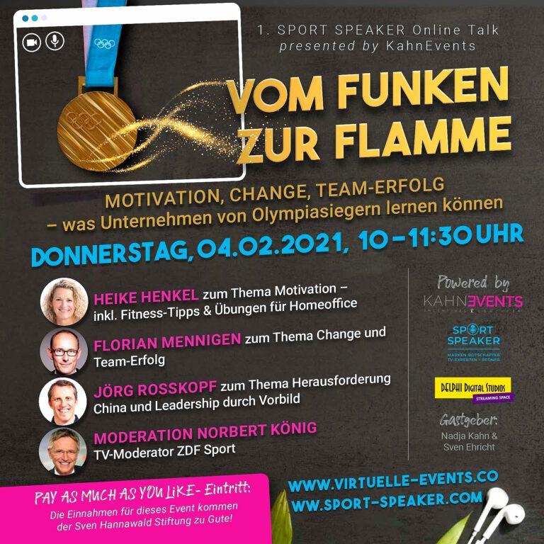 1. SPORT SPEAKER Online-Talk mit Olympiasiegern und Weltmeistern